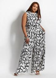 Belted Abstract Wide Leg Jumpsuit