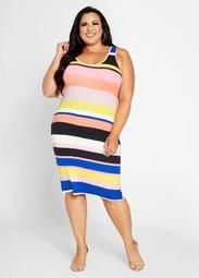 Striped Double Scoop Ribbed Dress