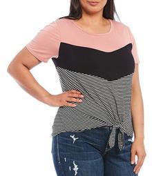 Plus Size Stripe Colorblock Scoop Neck Knot Front Hem Tee