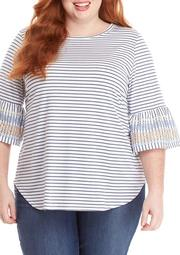 Plus Size Sea and Sand 3/4 Flounce Puff Sleeve Top