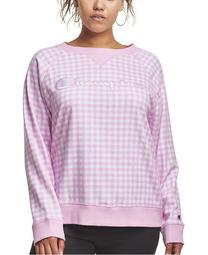 Plus Size Gingham-Print Crewneck Sweatshirt