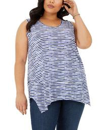 Plus Size Sleeveless Printed Handkerchief-Hem Top, Created for Macy's