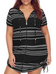 Dotti Womens Plus Size Dahlia Stripe Hooded Cover-Up Style-DTDSC1X0