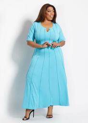 Seamed Keyhole Bar Neck Midi Dress