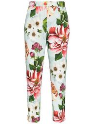 cropped floral-print trousers