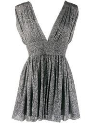 pleated metallic silk mini dress