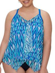 Beach House Womens Plus Size Rising Tide Kerry Underwire Tankini Top Style-HW50254