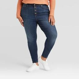 Women's Plus Size High-Rise Skinny Jeans - Ava & Viv™ Dark Wash