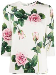 tropical rose print T-shirt