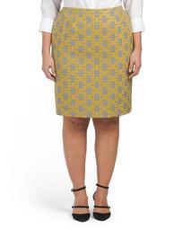 Plus Jacquard Plaid Pencil Skirt