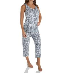 Ellen Tracy Blue Medallion Sleeveless Cropped PJ Set 8722935
