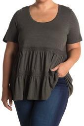 Lace Trim Scoop Neck Peplum T-Shirt (Plus Size)
