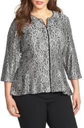 Collarless Metallic Lace Jacket (Plus Size)