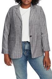Pinstripe One-Button Blazer