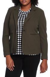 One-Button Stretch Cotton Blend Jacket (Plus Size)