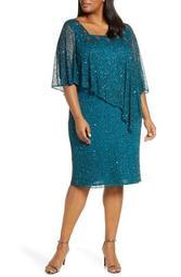 Cape Bodice Cocktail Dress (Plus Size)
