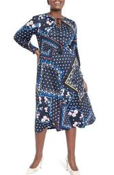Scarf Print Long Sleeve Midi Dress