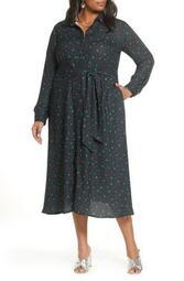 Long Sleeve Midi Shirtdress (Plus Size)