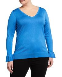 Plus Size Solid V-Neck Sweater