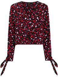 heart print wrap blouse