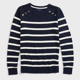SNAP BUTTON NECK STRIPE KNIT SWEATER