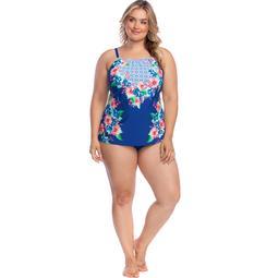 24th & Ocean Women's Plus Size High-Neck Tankini Top