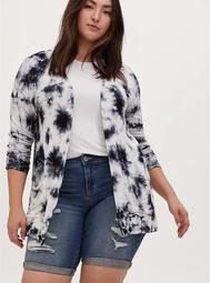 Super Soft Black Tie-Dye & Skull Open Front Cardigan