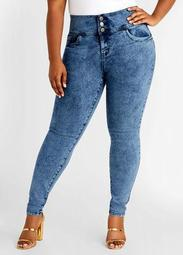 Acid Wash 3 Button Skinny Jean
