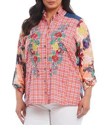 Plus Size Plaid-Floral Multi Print Roll-Tab Sleeve Embroidery Button Down Shirt