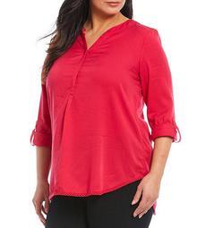 Plus Size Long Roll-Tab Sleeve Lace Hem Trim Tunic