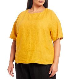 Plus Size Washed Organic Linen Delave Jewel Neck Elbow Sleeve Box Top