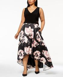 Plus Size Solid & Floral-Print High-Low Gown