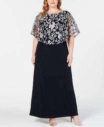 Plus Size Embroidered Capelet Gown