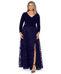 Plus Size 3D Floral-Appliqué Gown