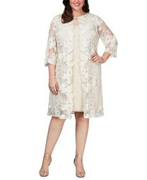 Plus Size Layered-Look Embroidered Jacket Dress