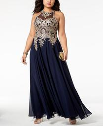 Plus Size Embroidered Gown