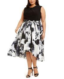 Plus Size Embellished-Neck Floral-Skirt Dress