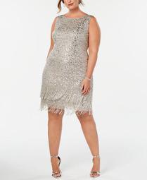Plus Size Hand-Beaded Fringe Shift Dress