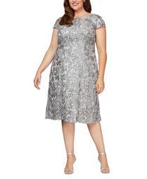 Plus Size Rosettes Lace A-Line Dress