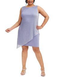 Plus Size Metallic Pleated-Overlay Dress