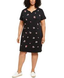 Plus Size Embroidered Split-Neck Dress, Created for Macy's