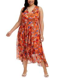 Plus Size Floral Chiffon Surplice Midi Dress