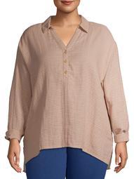 Terra & Sky Women's Plus Size 2 Pocket Popover Top