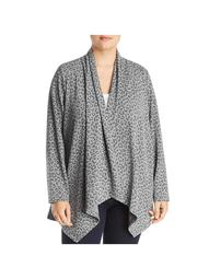 B Collection by Bobeau Womens Plus Amie Animal Print Cardigan Sweater Gray 2X