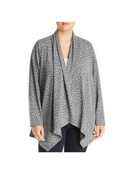 B Collection by Bobeau Womens Plus Amie Animal Print Cardigan Sweater Gray 2X