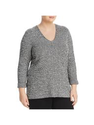 Nic + Zoe Womens Plus Mar V Neck Pullover Sweater