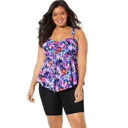 Fit 4 U Women's Plus Size Flared Tankini Top