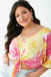 Plus Size Tie-Dye V-Neck Top
