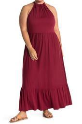 Knit Halter Tiered Maxi Dress (Plus Size)