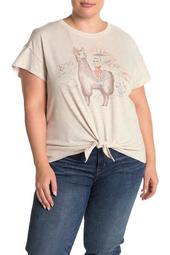 Graphic Front Tie T-Shirt (Plus Size)